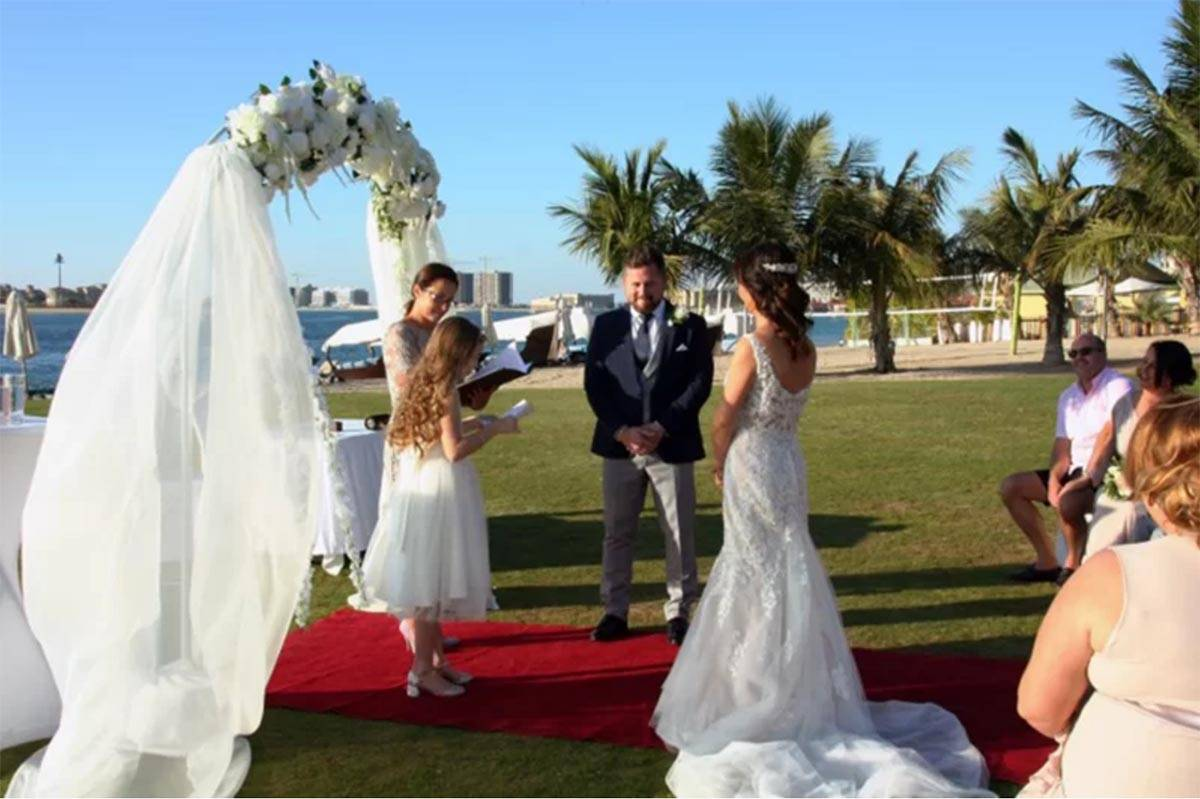 Couples wedding with celebrant